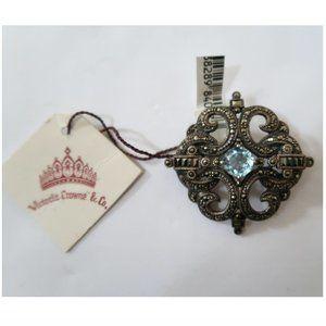 VICTORIA CROWNE & CO sterling silver topaz brooch